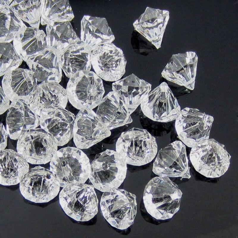 50 pçs claro acrílico diamante gemas facetado contas de mesa vaso enchimento pirata acrílico diamante cristal na festa decorações diy 12.0mm