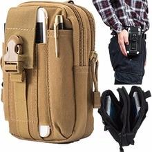 Outdoor Tactical Phone Pouch Holster Airsoft Molle Hip Waist Belt Clip Bag Wallet EDC Gadget Pouch Tool Dump Drop Bag Holder Tan