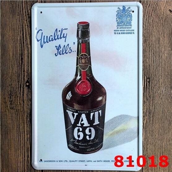 НДС 69 шотландский смешанный виски жестяной знак металлический Настенный декор бар, таверна дисплей 20x30CM