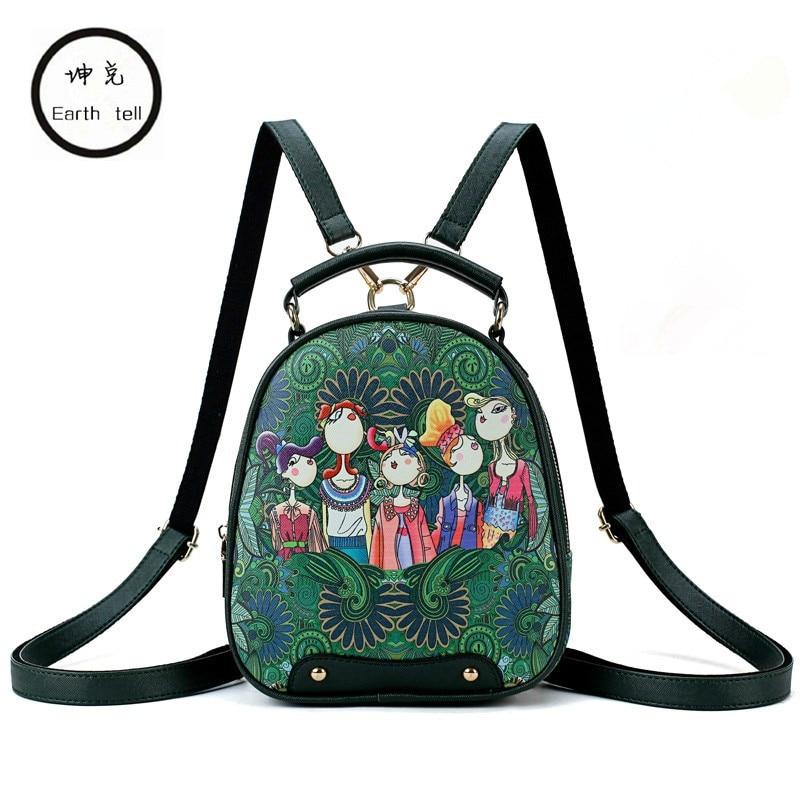Nueva mochila con estampado 3D para mujer, diseño de marca de lujo, minimochila escolar de viaje, bolso de piel sintética para mujer, mochilas verde bosque