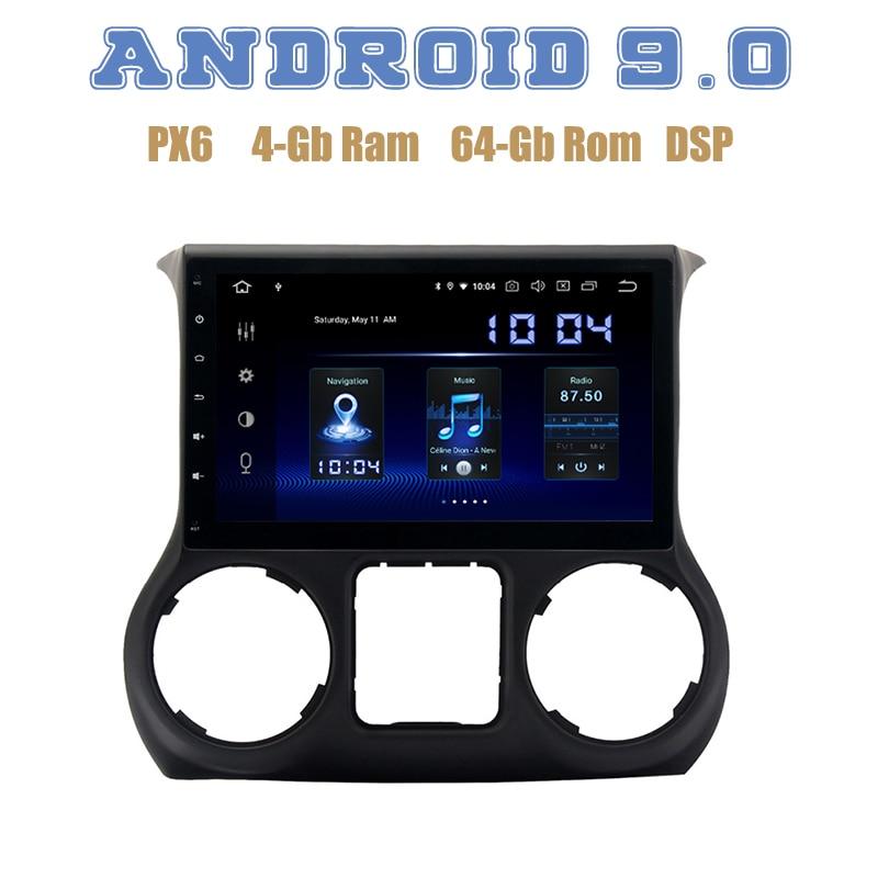 "Pantalla IPS de 10,2 ""para jeep wrangler 2011-2017 Android 9,0 GPS para coche Radio con wifi usb PX6 DSP 4 + 64GB estéreo para coche Multimedia"