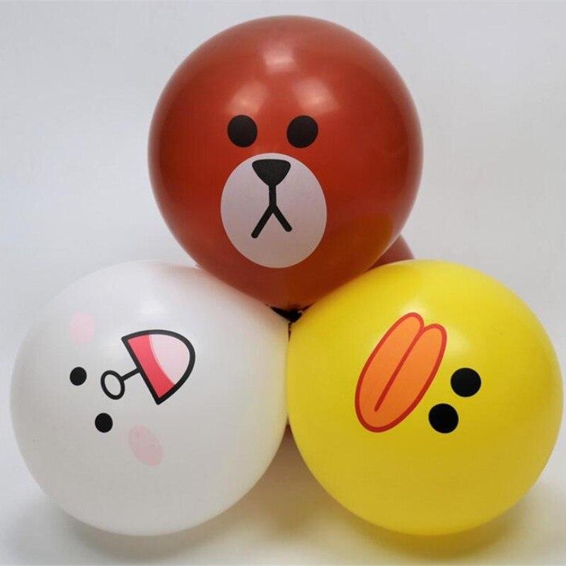 Globos de animales 50 piezas/lot12 pulgadas 2,8g redondo de látex de helio pequeño pato amarillo decoración de globos de fiesta de safari bebé cumpleaños Supl