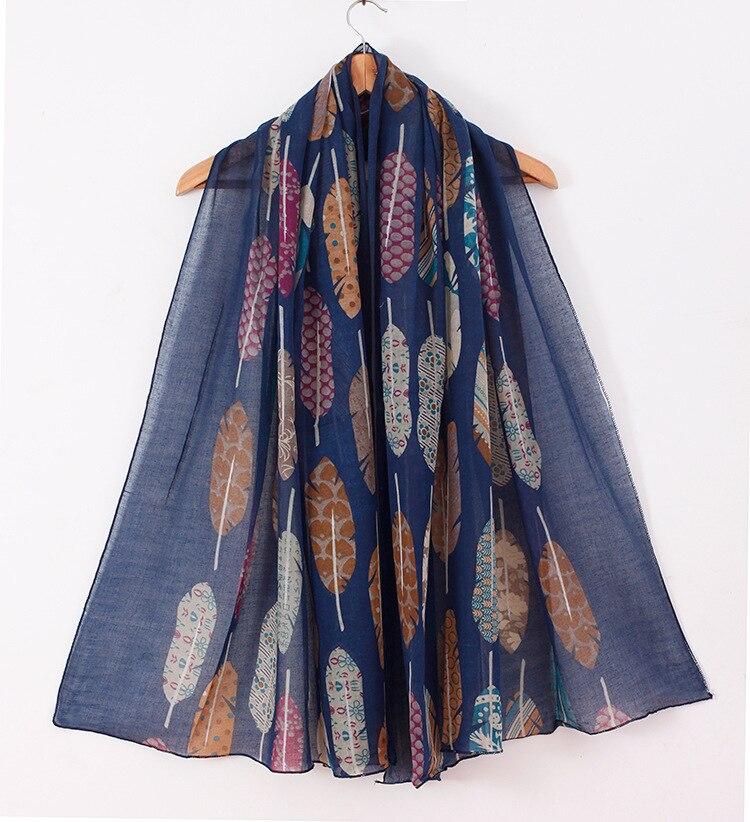 2020 NOVO Design de Moda printe pena floral viscose cachecol Cachecol hijab bohemian viscose muçulmano cachecóis/xales 10 pçs/lote