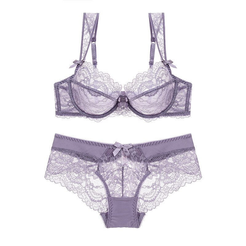 New embroidery bras underwear women set plus size lingerie sexy A B C D cup Ultrathin transparent bra panties lace bra set black