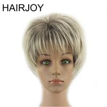 HAIRJOY Femmes Synthétique Cheveux Perruques Court Bouclés Coupe de Cheveux En Couches Gris Souligné Balayage Gris Perruque