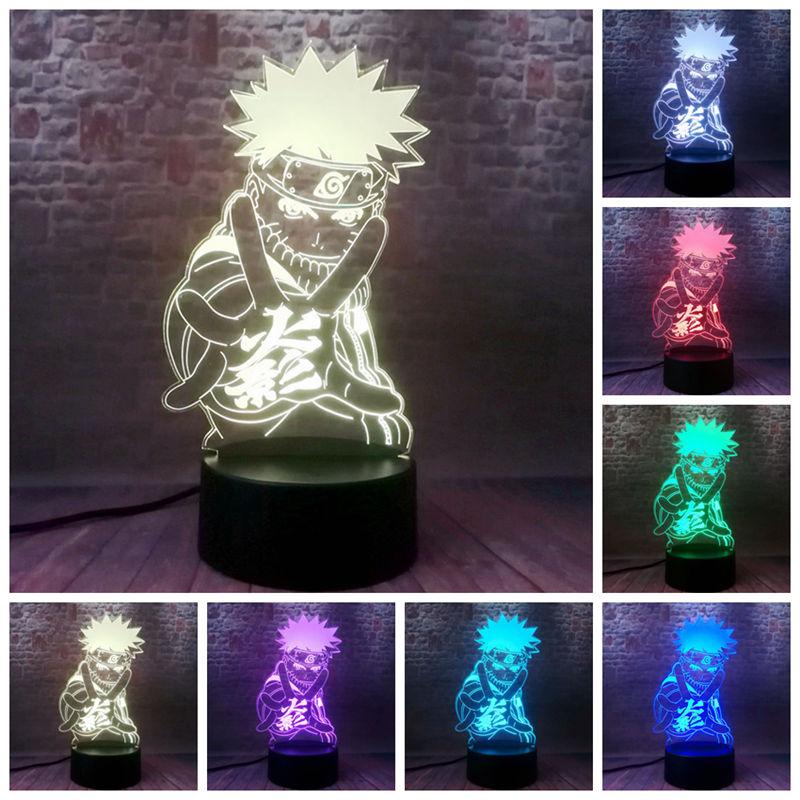Naruto Anime Figma 3D Illusion LED Colorful Flashing Desk Nightlight Japan Manga Naruto Figuras Toys