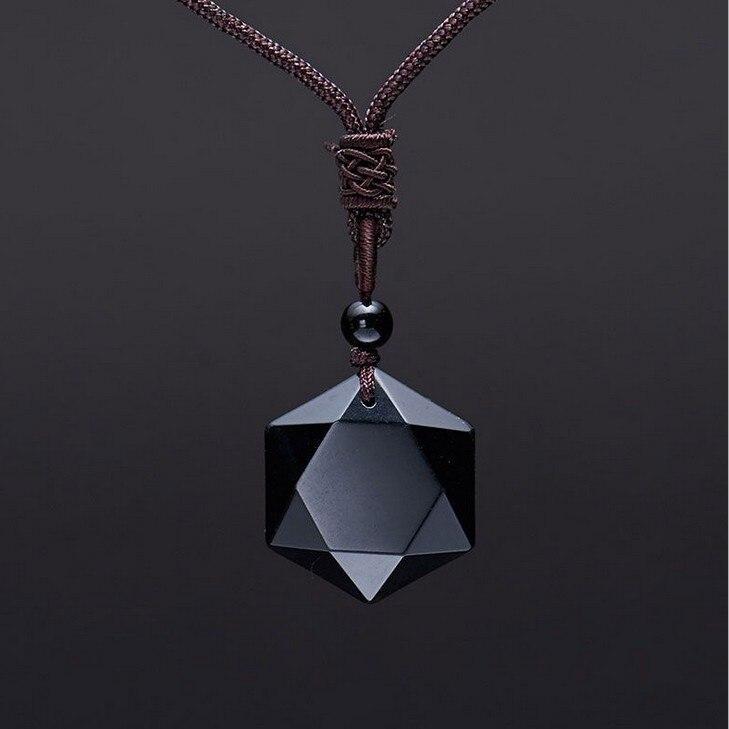Colgante obsidiana negra, collar obsidiana con estrella de obsidiana, collar con colgante de estrella, joyería de piedra obsidiana