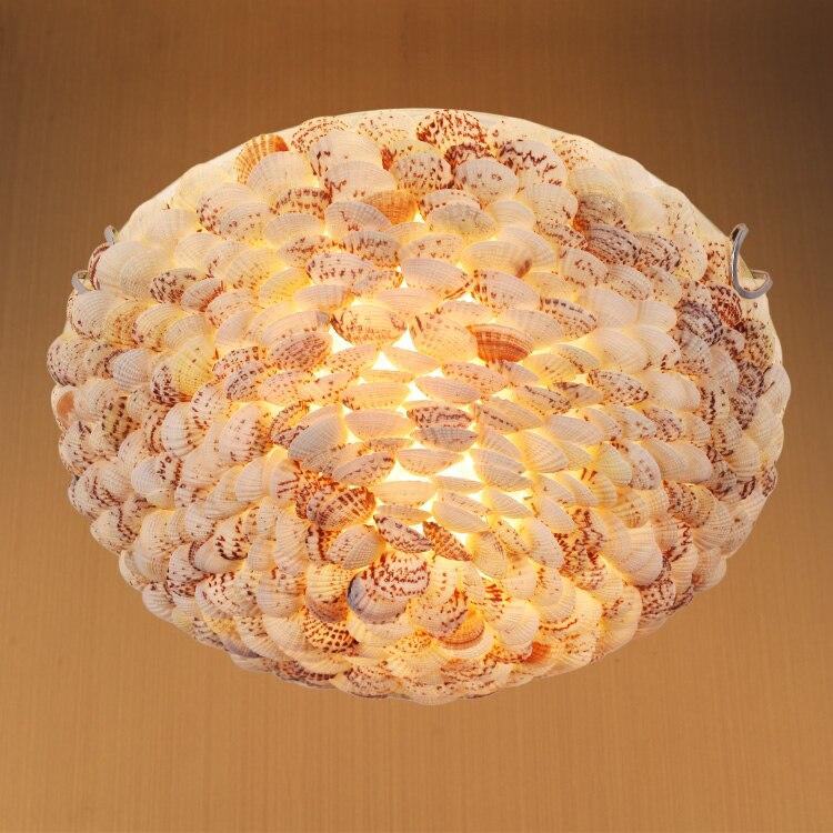 estilo mediterraneo escudo natural luzes de teto breve rustico escudo lampadas teto