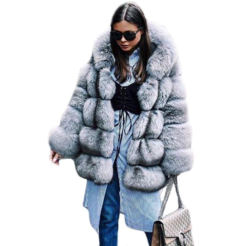 Nuevo abrigo de piel de invierno grueso y cálido para mujer con capucha de piel de zorro plateado Artificial abrigo de piel de mujer abrigos de piel sintética PC263