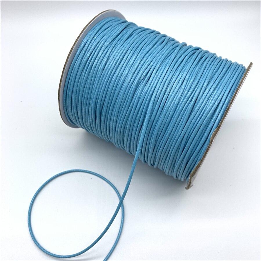 0,5 мм 0,8 мм 1 мм 1,5 мм 2 мм Небесно-Голубой вощеный хлопковый шнур вощеная нить веревка шнур ремень Ожерелье Веревка для изготовления ювелирных изделий
