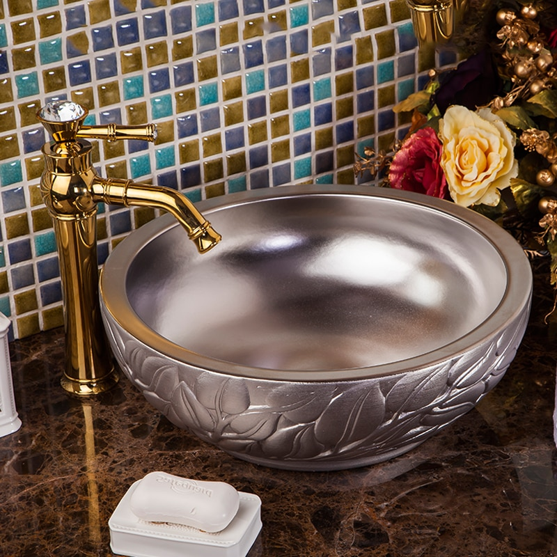 Lavabo chino estilo europeo lavabo arte de Jingdezhen encimera cerámica superior lavabo tocador baño fregadero