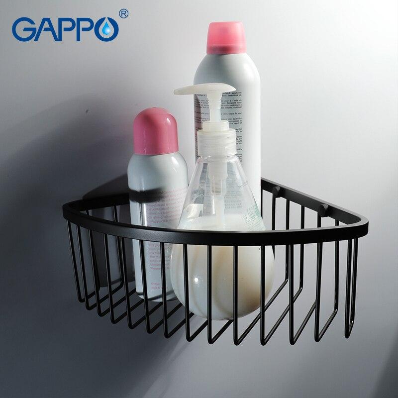 GAPPO-أرفف حمام مثبتة على الحائط ، وحامل دش ، وحامل تخزين ، وإكسسوارات دش