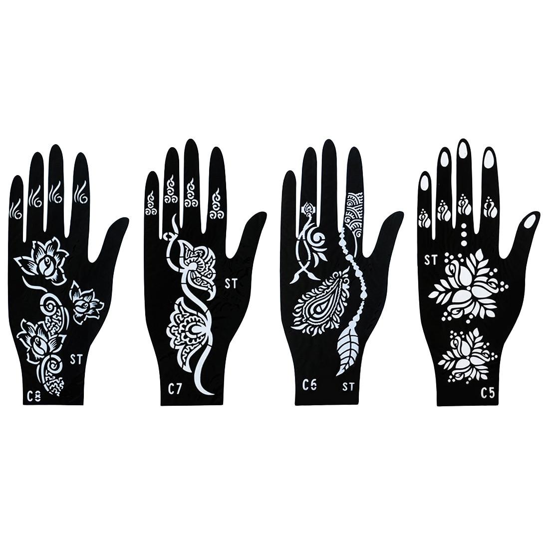 India Nepal Henna tatuaje Palma plantilla flor encaje dedo cubierta molde Flash PISTOLA DE PULVERIZACIÓN mujer mano pintura Mehndi Plantilla de tatuaje