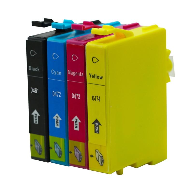 4PK cartuchos T0461 T0472 T0473 T0474 Compatible con Epson, Cartucho de C63 C65 C83 C85 CX3500 CX4500 CX6500 tinta de impresora