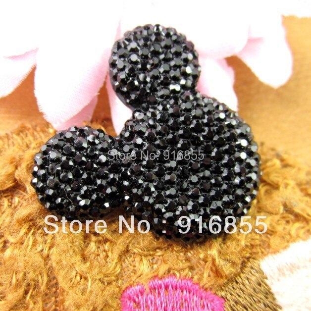 Freies verschiffen! 50 teile/los 35*30mm schwarz mickey kopfform flatback Harz strass für DIY dekorative und mobile schönheit