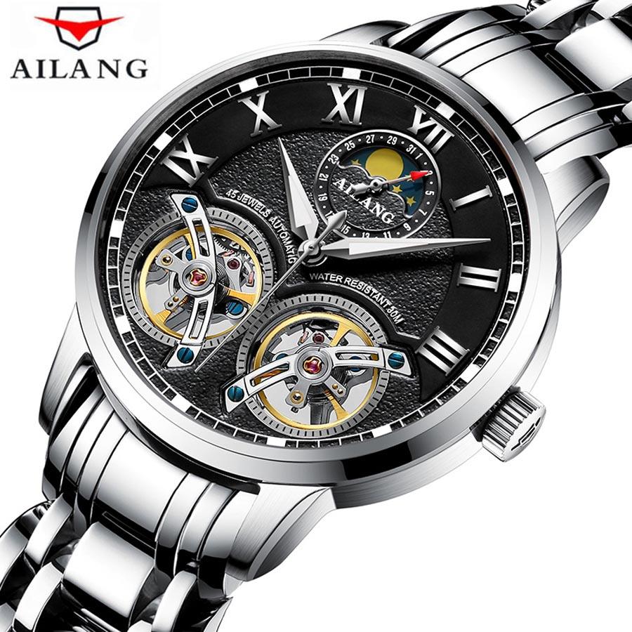 Luxury Brand Waterproof Men Self-wind Full Steel Automatic Mechanical Watches Men's Black Dial Double Tourbillon Watch 2018 NEW