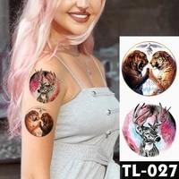 galaxy fawn tiger waterproof temporary tattoos sticker women men body art neck arm translated tattoos flash tatoo fantasy color