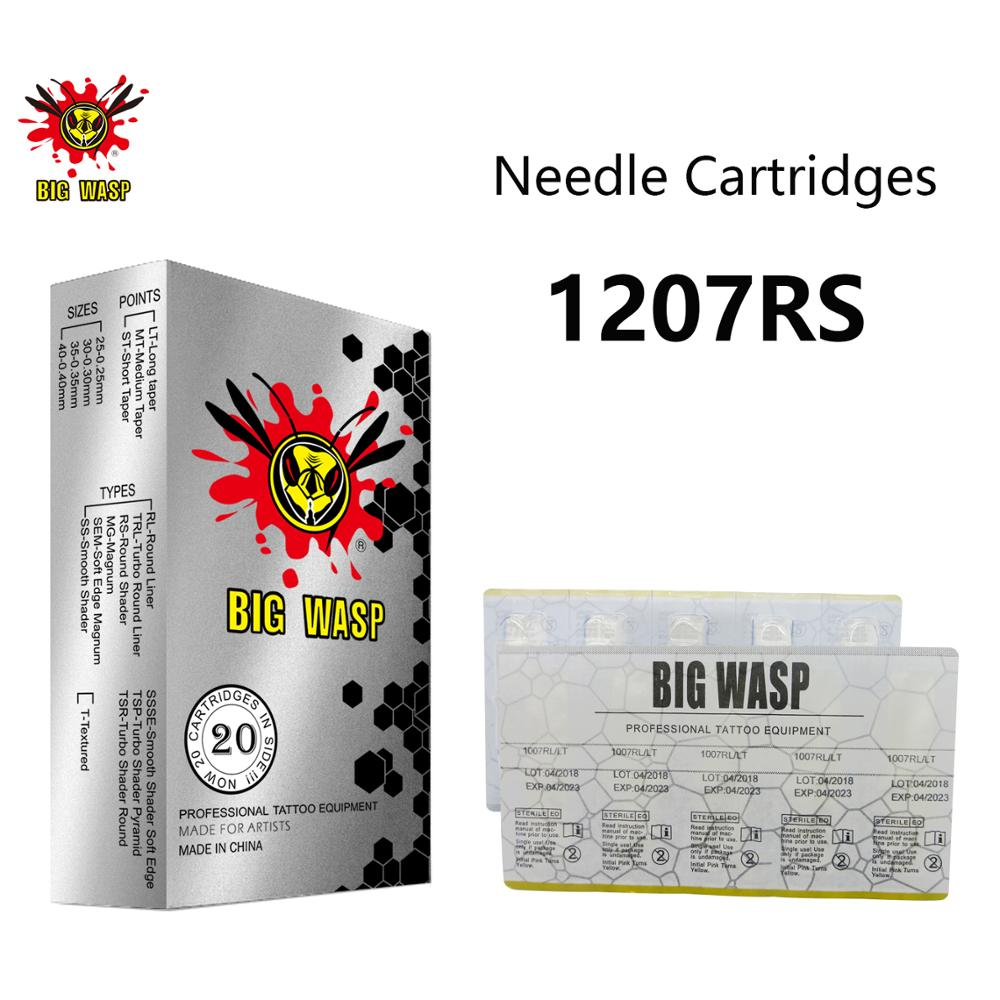 BIGWASP 1207RS Tattoo Needle Cartridges #12 Standard (0.35mm) 7 Round Shader (7RS) for Cartridge Tattoo Machines & Grips 20Pcs