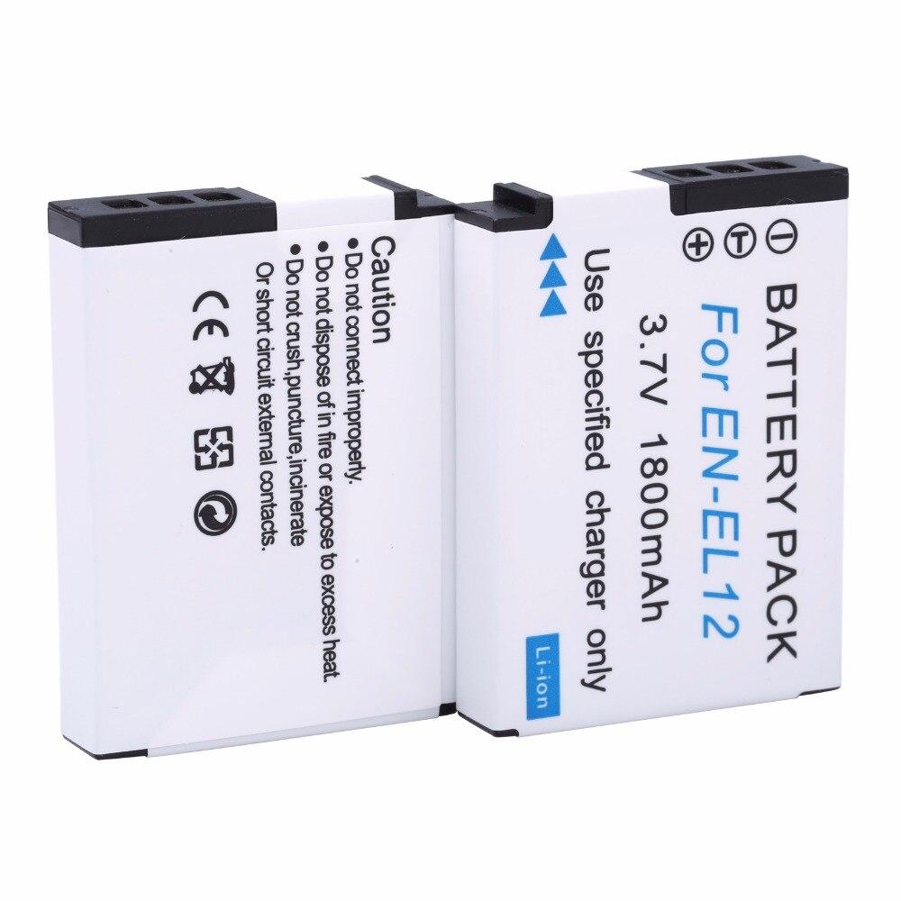 2 uds., batería de repuesto EN-EL12 EL12 de 1800mAh para cámara Nikon Coolpix AW100s AW110s P300 P310 P330 S31 S70 S620 S630 S640