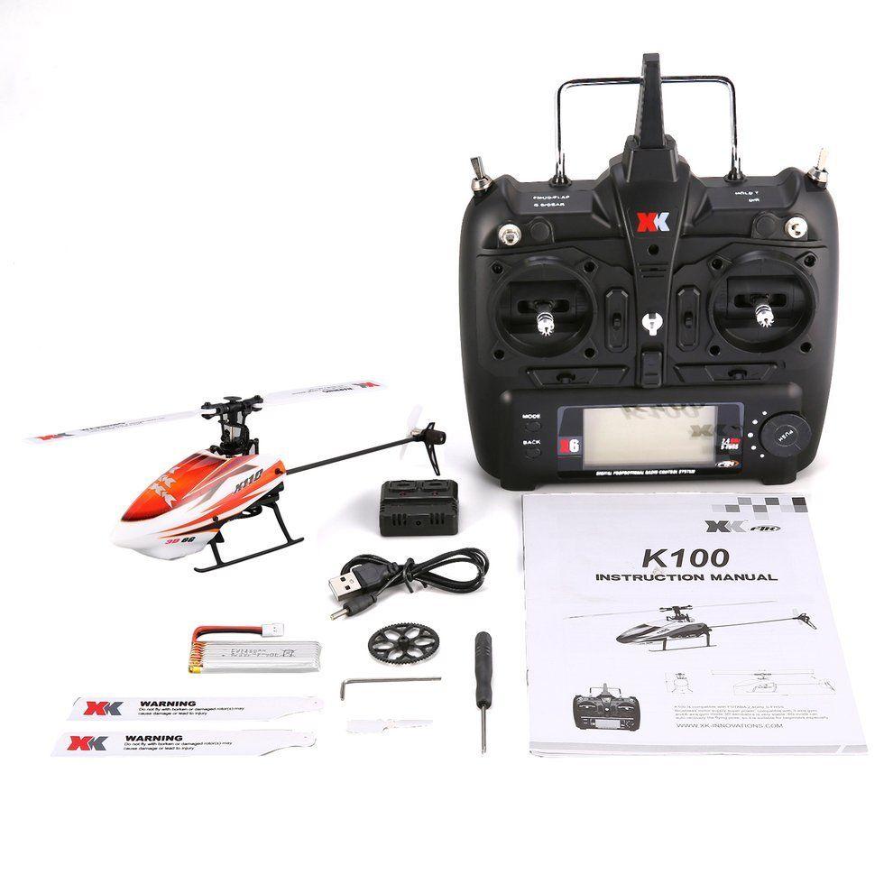 XK K110 6CH 3D 6G sistema Mini sin escobillas RC helicóptero Drone con Gyro RTF helicóptero de Control remoto juguetes para niños