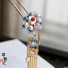 vintage  pearl handmade Cloisonne  hairpin hair sticks Hair accessories Headwear up do hair for kimono hanfu COSPLAY