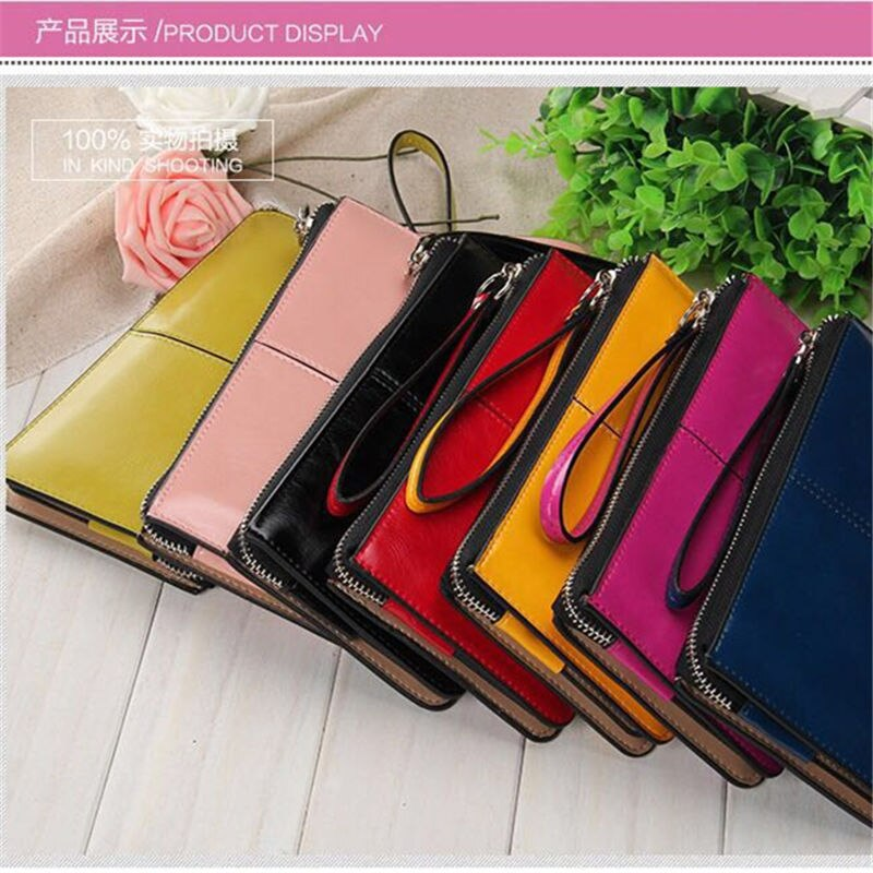 Купить с кэшбэком New Women Wallets Long Candy Oil Leather Wallet Day Clutch New Fashion Women's Purse Female Purse Clutch Card Holder