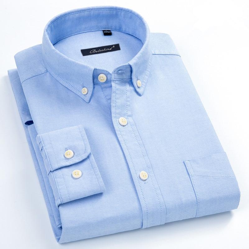 Plus Larger Size 5XL 6XL 7XL 8XL Spring Men's Shirt Pure Cotton Oxford Button Down Dress Shirt Casual Solid Striped White Blue