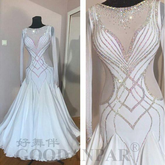 Vestido de baile de salón, ropa de Baile Estándar, traje de baile de salón, vestido moderno, disfraz de Vals, traje para competencia de baile, color blanco