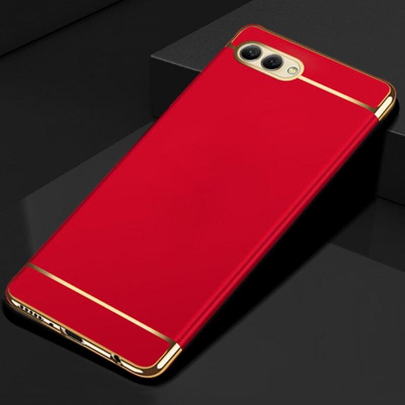 Yuetuo luxo duro plástico telefone volta etui, coque, capa, caso para huawei honor v10 vista 10 view10 v 10 vermelho acessórios 3 em 1