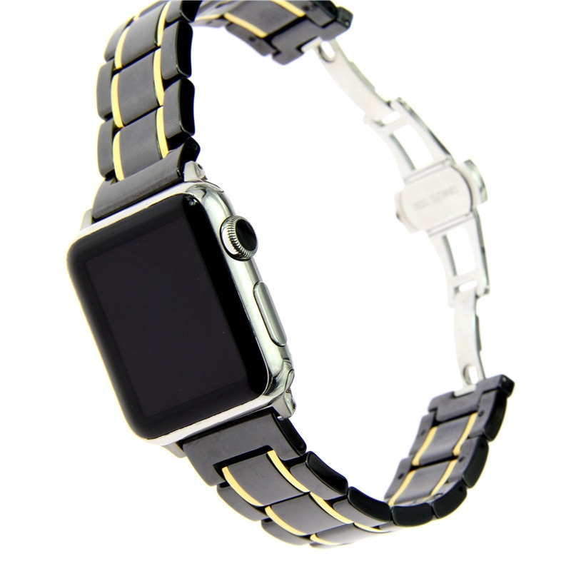 Pulseira de Relógio de Luxo para Apple Inoxidável para Apple 40-44mmceramics com Pulseira de Relógio de Aço Series 2 3 Pulseiras Ver 5 4 1