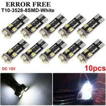 10 pces t10 led canbus 8 smd 3528 led 194 168 w5w lâmpadas brancas auto interior do carro instrumento cúpula tronco luzes da placa de licença