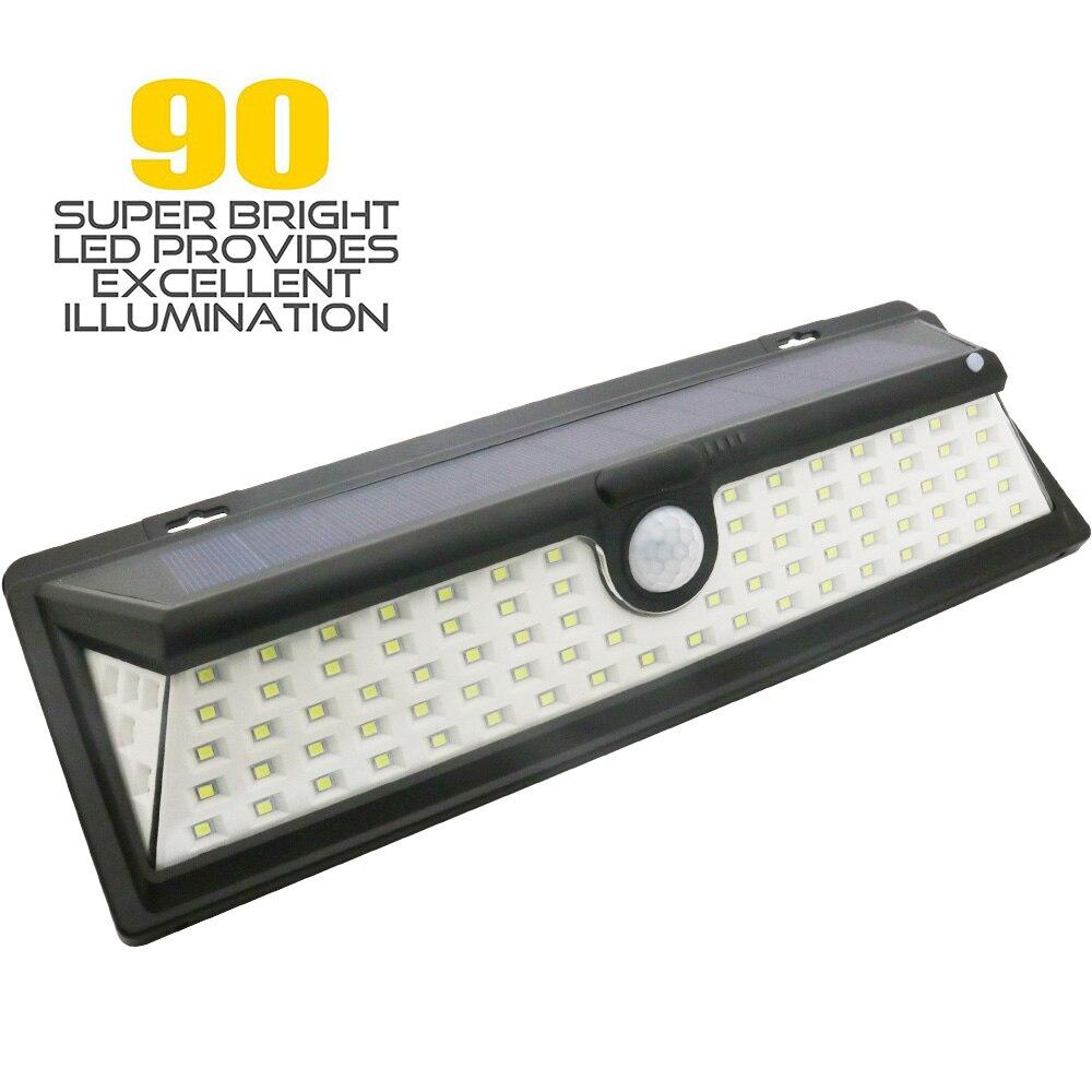 3 Mode IP65 Waterproof 90 LED Solar Light 7W 1050LM PIR Motion Sensor Light Outdoor Waterproof Wide Angle Wall Lamp