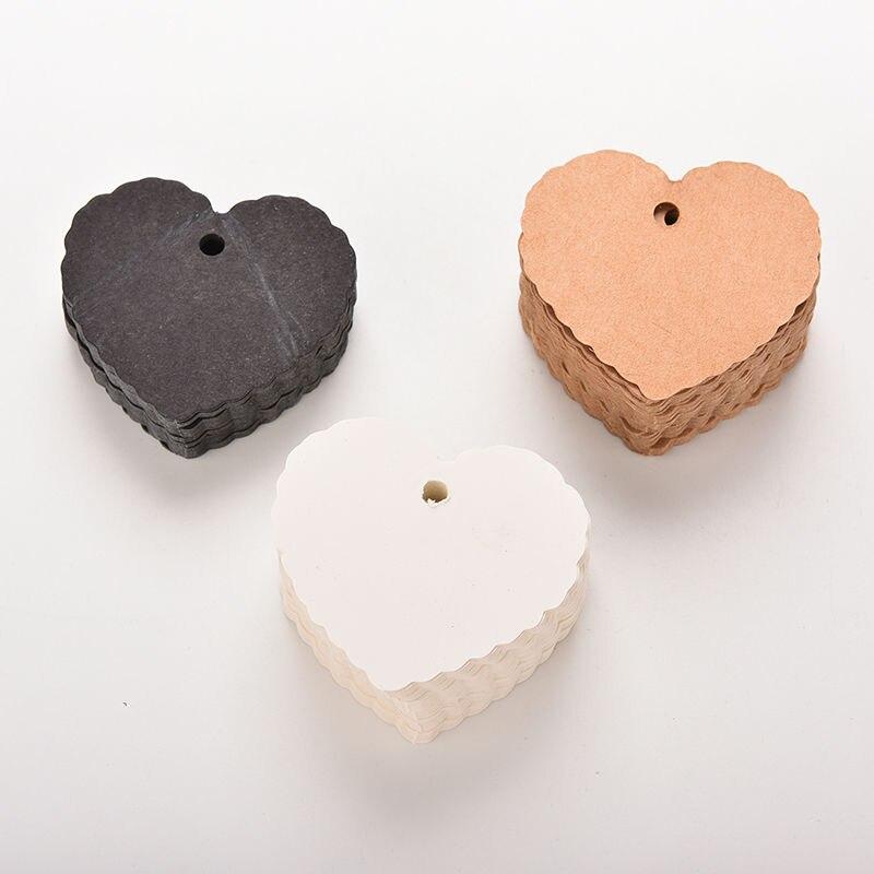 100 pçs/lote coração forma kraft papel pendurar tags festa de casamento favor etiqueta preço presente cartão 5.8cm x 5.5cm