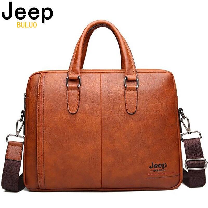 Maletín de cuero con división de negocios para hombre de JEEP BULUO, bolso de mensajero para hombre, de 13 pulgadas bolso para portátil, maletín de oficina