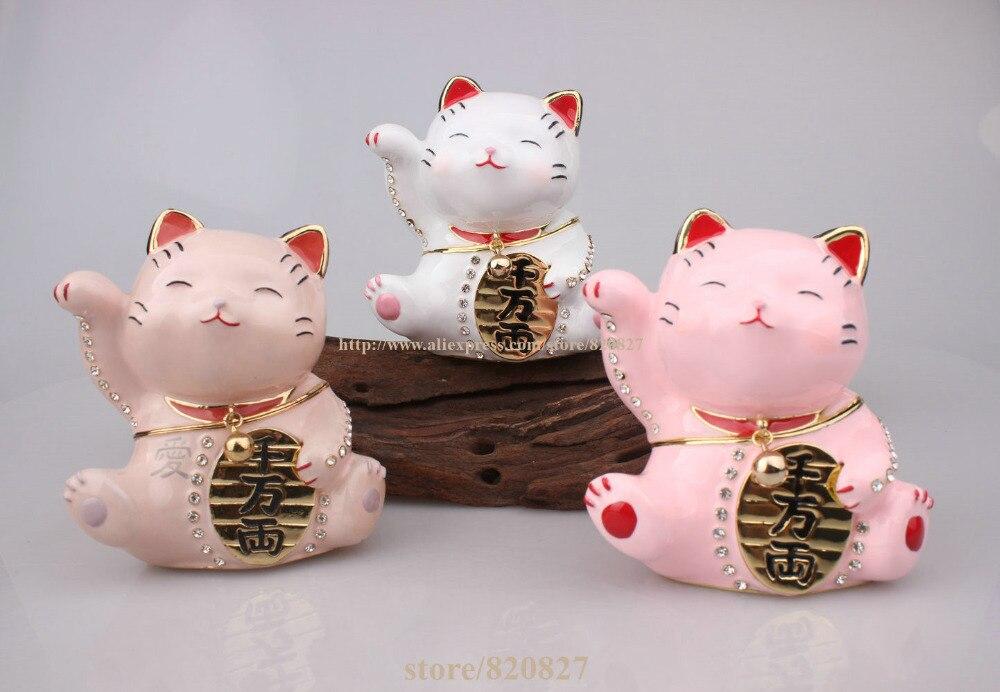 Articulado jóias trinket caixa bonito japão sorte gato dinheiro gato sorte chinês japonês estátua sorte gato colecionável estatueta