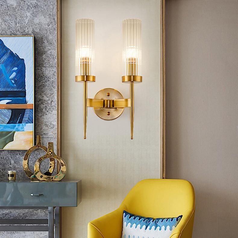 Luz de pared dorada Ideas de personalidad retro nórdico lámparas simples cabecera arte del hierro pasillo luz americana pared vintage Luz