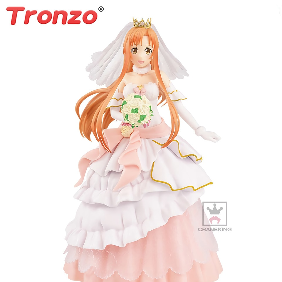 Tronzo Original BANPRESTO EXQ Anime Sword Art Online Asuna Wedding PVC Action Figure Model SAO Yuuki Asuna Figurine Doll Toys