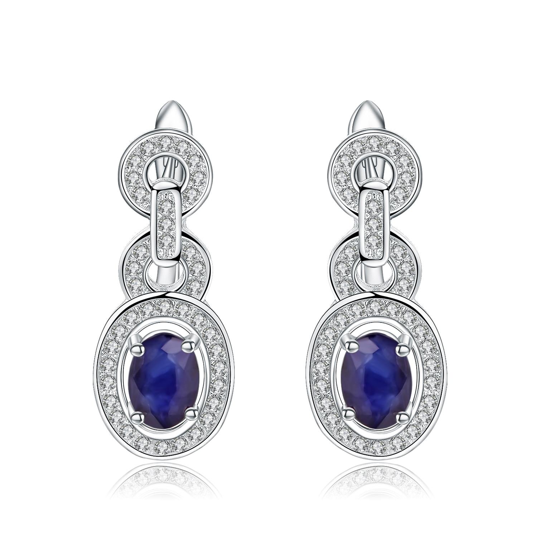 Ballet oval 1.89ct natural azul safira brincos 925 prata esterlina do vintage brincos para o casamento feminino jóias finas