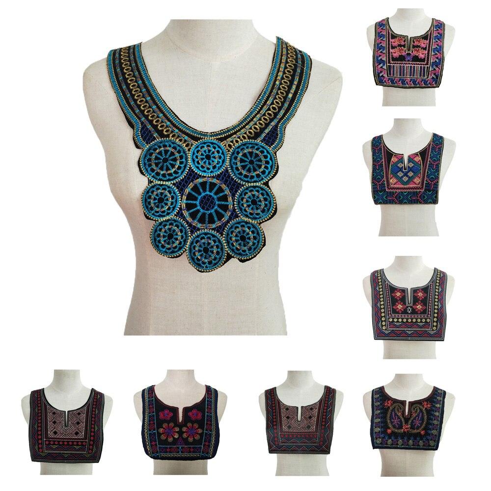 Платье с кружевным вырезом в этническом стиле, платье с вышивкой и аппликацией, блузка из швейной ткани, отделка «сделай сам» на декольте, воротник, костюм декоративный