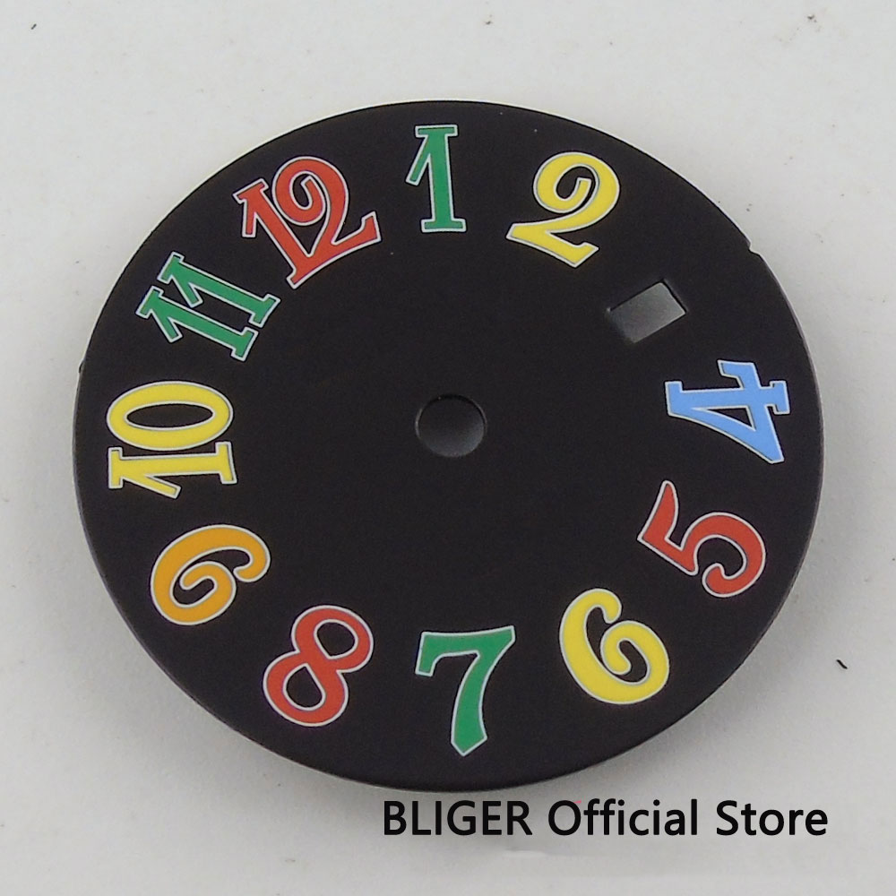 Esfera negra estéril de 28,5 MM números coloridos abertura para fecha ajuste DG 3804 MIYOTA 8205 8215 movimiento automático reloj Dial para hombres D11B