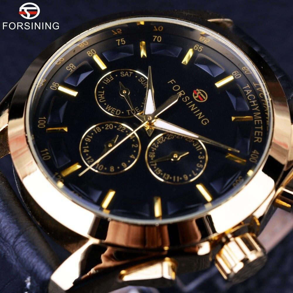 Forsining 2016 designer de moda retro três dial decoração couro genuíno ouro marca luxo relógios mecânicos automáticos
