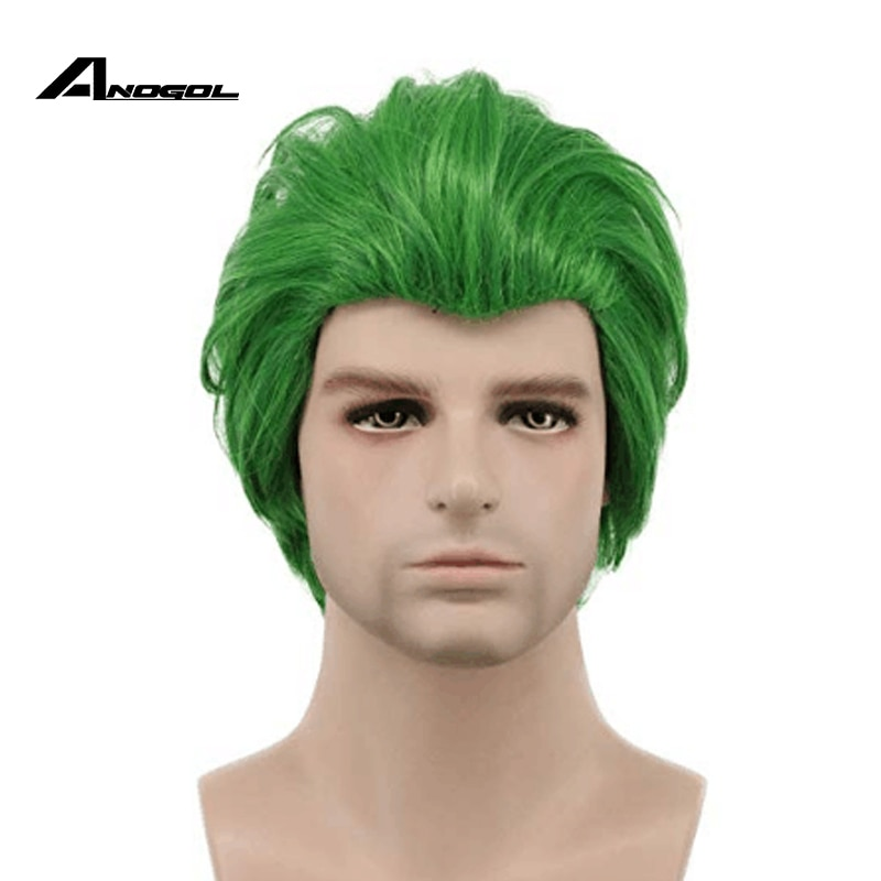 Anogol esquadrão suicida o cavaleiro escuro batman o coringa curto verde reta peruca sintética cosplay para festa de halloween role play