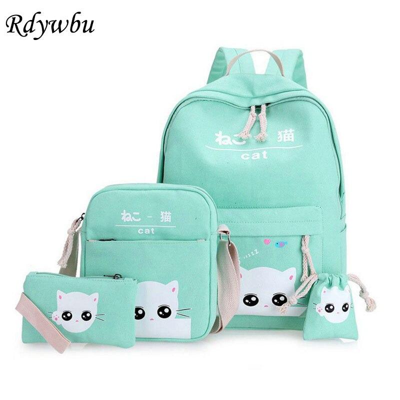 Rdywbu Japón lindo gato coreano impreso mochila conjunto adolescente dibujos animados mochila escolar de lona monedero grande viaje mochila B295