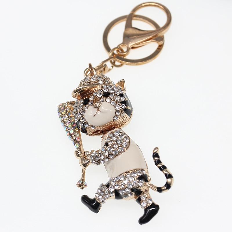 LLavero de tigre de béisbol de cristal 3D, accesorios para bolso de hombre, llavero con colgante de tigre de dibujos animados