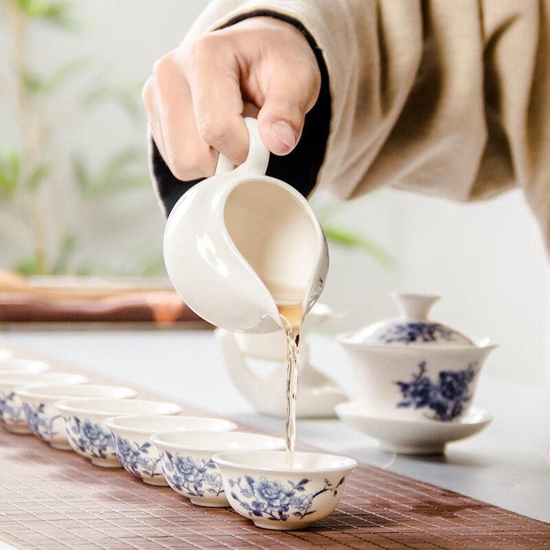 طقم شاي سيراميك 12 قطعة ، هدية ترويجية خاصة ، أزرق وأبيض ، طقم سفر ، طقم شاي للترفيه المنزلي
