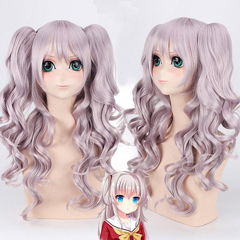 Женский парик для косплея Charlotte Tomori Nao, длинные волнистые волосы 70 см, термостойкие синтетические волосы фиолетового цвета, аниме