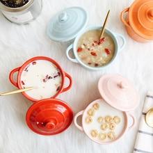 Cuisine cuire moule avec couvercle céramique vaisselle four soupe bol Mini cocotte résistant à leau mijoteuse Dessert bol soupe tasse