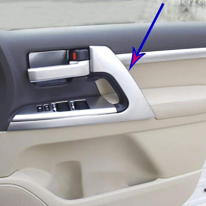 Coche cromo cubierta de manija de puerta interior Trim pegatinas para cuenco de puerta decoración para Toyota Land Cruiser LC200 2016