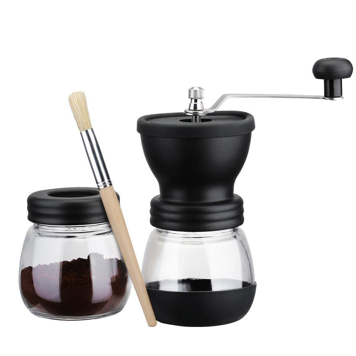 Горячая ручная кофемолка с баночкой для хранения мягкая щетка коническая керамическая заусенцы тихая и портативная