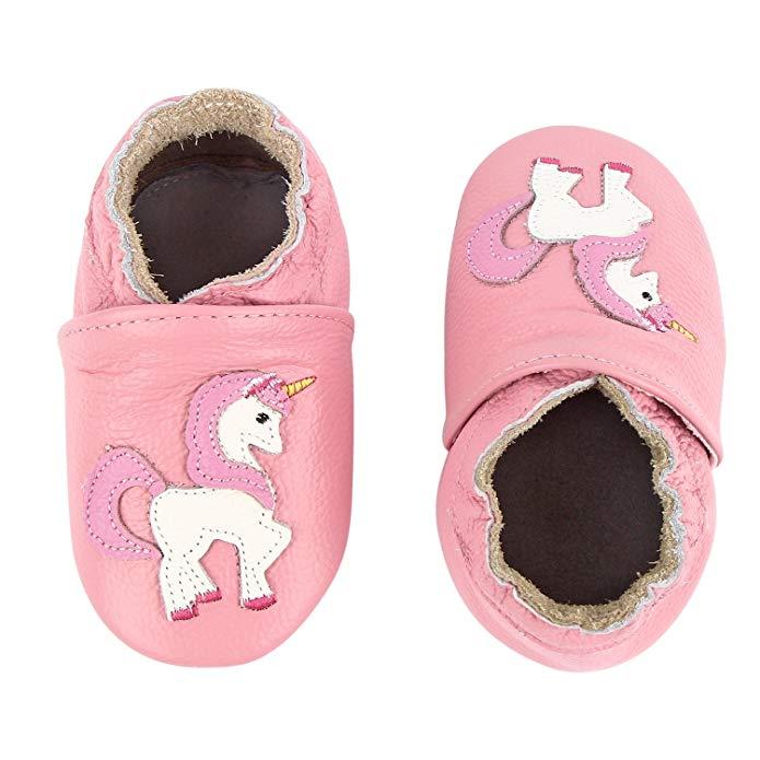 Gsch chausson bebe cuir souple unicornio zapatos de bebé de suela suave de cuero mocasines de gatear de dibujos animados pantufas bebe leren babyslofjes